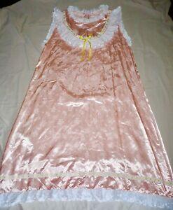 Vintage Retro Frilly Peach Satin Ruffle Ribbon Sissy Nightie Miss Elaine LARGE