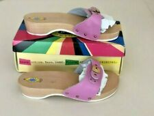 Vintage Pair Dr Scholl's Wooden Sandals Slides Shoes Pink Women's 9 NEW IN BOX