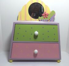 New Child's Jewelry Box - colorful pastels with mirror on top #4003-7