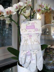NEW *BNTA Laura Ashley Gardening Gloves Christmas Gift Leather & Canvas Ladies