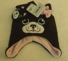 "Puppy Dog Toddler Girls Hat & Mittens Set NWT New Black & Pink 7"" Side to Side"