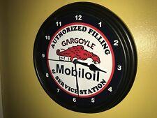 Mobil Gargoyle Oil Gas Service Station Mechanic Garage Man Cave Wall Clock Sign
