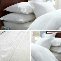 White Duvet Covers Lace Trim Broderie Anglaise Balmoral Quilt Cover Bedding Sets