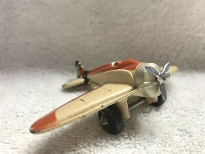 Vintage Sun Rubber Company Red and Beige Propeller Plane