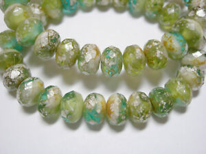 Emerald  6x2mm 50 Czech Frosted Sea Glass Rondelle Beads Matte
