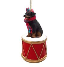Rottweiler w/ Drum Dog Christmas Ornament Holiday Figurine Scarf gift