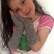 Fair Trade Gray Alpaca Kids' Wrist Arm Warmer Long Fingerless Mitten