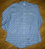 New Brooks Brothers Brookscool Blue Plaid Long Sleeve Woven Non Iron Shirt, L