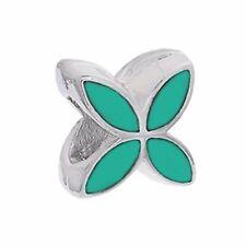 Clover Flower Green Enamel Silver Plated Spacer Charm for European Bead Bracelet