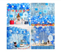 114 Pc Boy Baby Shower Decorations Kit - Blue Silver White Balloons + More US