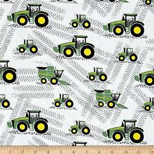 Trattore Tessuto Fat Quarter Cotton Craft Quilting-per ragazzi-John Deere-Bianco