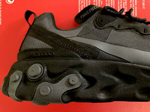 Mens Nike React Element 55 Trainers Sneakers Casual Gym Training Triple BLACK