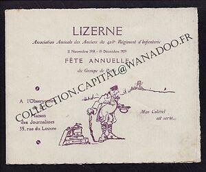 Menu LIZERNE Fête annuelle 11 Novembre 1918 15 Décembre 1929