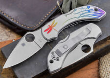 """Spyderco Dragonfly SS Tattoo Folding Knife 2.3"""" VG10 Color Dragonfly Etch Handle"""