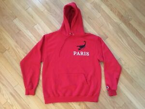 WESTSIDE GUNN/VIRGIL ABLOH PRAY FOR PARIS RED X-LARGE CHAMPION HOODIE GxFR