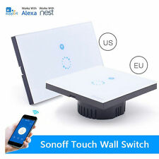 US EU Sonoff WiFi Wireless Wall LED Light Touch Swtich Glass Panel APP Control