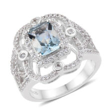 Natural Aquamarine Ring in Platinum Over Sterling Silver (Size 7.0) 1.50 ctw