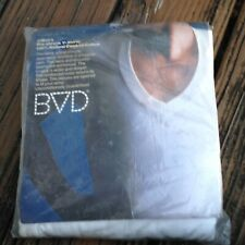 Vintage BVD Mens White V Neck T Shirt XL 46-48 3 Pk Cotton 1970s Deadstock 70s