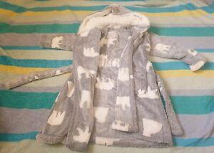 Girls Snuggle Fleece Hooded Dressing Gown Robe Super Soft Children's Kids 4-5 Y