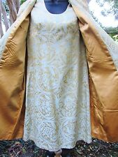 Vintage 1960's Gold & Pale Green Brocade Coat & Dress Set Woman's Size Small