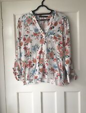 ZARA ECRU MULTICOLOUR FLORAL PRINT SHIRT BLOUSE WITH TIED SLEEVES SIZE M