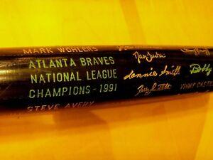1991 BRAVES World Series NL Champions Black Bat,Justice, Glavine,etc.-Exc/Mint