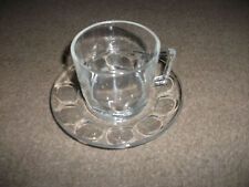 CUP & SAUCER BY ARCOROC FRANCE-CLEAR GLASS  GOOD CONDITION