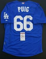 """YASIEL PUIG Autographed LA Dodgers, Ins. """"WILD HORSE"""" SIZE 52. WITNESS JSA"""