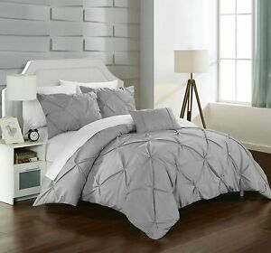 Chic Home 4 Pc Daya Pinch Pleat Duvet Cover Set Silver/Grey NEW TWIN DS2505