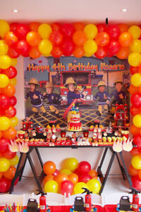 Personalised Vinyl Banner Fireman Sam Birthday Party Poster Backdrop 1st 2nd 3rd
