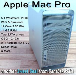 Apple Mac Pro 12 Core 2.66 GHz Intel Xeon 5,1 Westmere 2010, 2 SATA & 14GB Ram