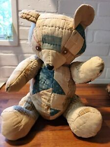 Vintage Handmade Quilt Teddy Bear Jointed Button Eyes Large