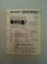 Sharp GF-7 Boombox Stereo GhettoBlaster Original Shop Service Manual