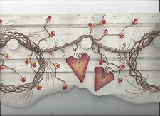 PRIMITIVE GRAPEVINE WREATH BERRIES HEARTS DIECUT WALLPAPER BORDER COUNTRY NEW