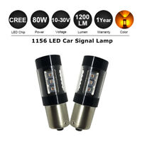 2X BA15S 1156 80W CREE XBD LED Orange Amber Turn Signal Light Bulb Globe 12V/24V