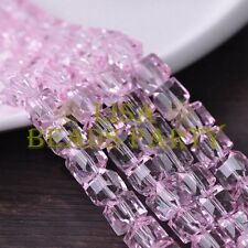 New 10pcs 10mm Cube Square Faceted Crystal Glass Loose Spacer Beads Pink
