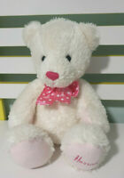 HARRODS TEDDY BEAR WHITE WITH PINK BOW SPOTTY BOW 25CM