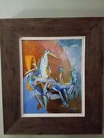 Original Art: Yuval Wolfson Acrylic Painting Birds on Canvas Framed Signed COA.