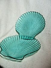 PAIR OF VINTAGE BLUE GLASS SCALLOP SHELL SERVING DISHES