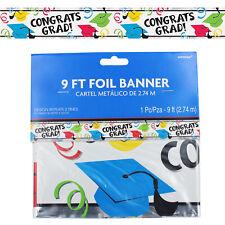 Graduation Colour, Silver, Black Foil 9ft Banner - Congrats Grad