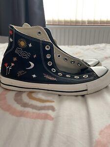 Converse Black High Tops Size 7 Moon and Sun Print