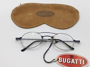 Glasses Vintage Bugatti 10898 Silver Oval Round Doppelsteg 1990er Size M + Case
