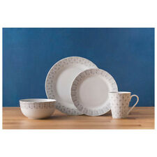 Price & Kensington Grey and White Herringbone Design 16 Piece Dinner Set NEW