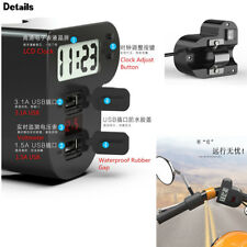 12V 3 In 1 Motorcycle Waterproof Switch Dual USB Charger LCD Clock LED Voltmeter