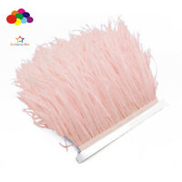 New 1/5/10 meter Light pink Ostrich Feathers 8-15 cm/3-6 inch Fringe Ribbon Trim