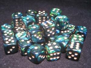 Chessex Dice Sets: Jade/Gold Scarab 12mm d6 (36)