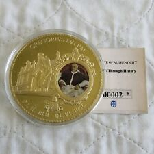 More details for 2012 pope gregory xvi 70mm large gold plated coloured proof medal - coa