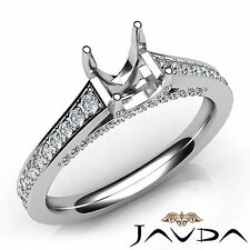 Asscher Diamond Engagement 14k White Gold Semi Mount Pave Setting Ring 0.75Ct