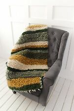 Armchair Throw Wool Green Striped Cozy Arm Chair Cover Handwoven Sofa Cover