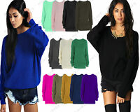 Ladies Womens Oversized Baggy Knitted Jumper Chunky Sweater Plus Size 8-18